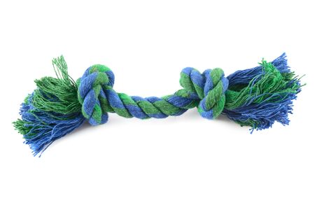 Dog toy - colorful cotton rope for games, isolated on white background .
