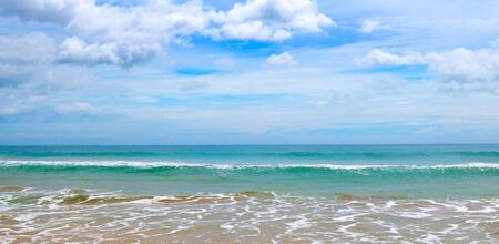 Sea scape and blue sky background. The concept is travel. Wide photo