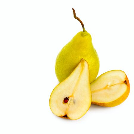 Ripe pears isolated on white background. Healthy food. Free space for text.