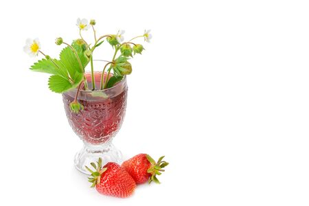 Strawberry juice with strawberries isolated on the white background. Free space for text. 版權商用圖片