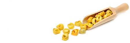 Ravioli isolated on white background. Wide photo. Free space for text.