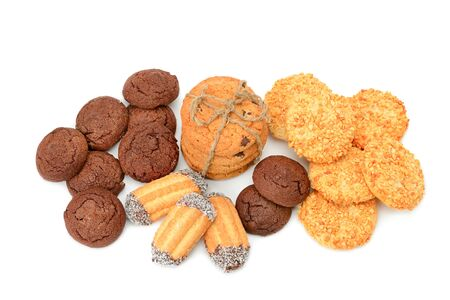 Different types of sweet cookies isolated on white background.