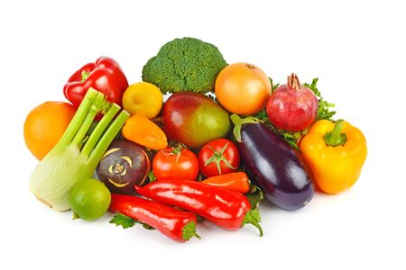 Set of vegetables and fruits isolated on a white background. Healthy food. Flat lay. Stock fotó