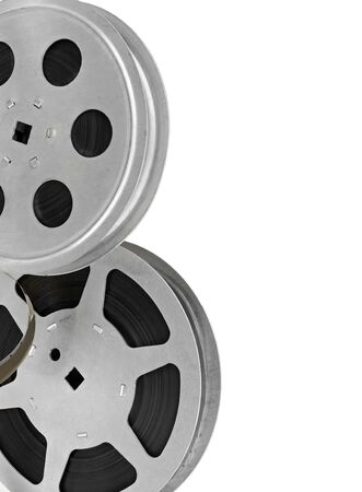 Set of reels with film strip isolated on a white background. Free space for your text.