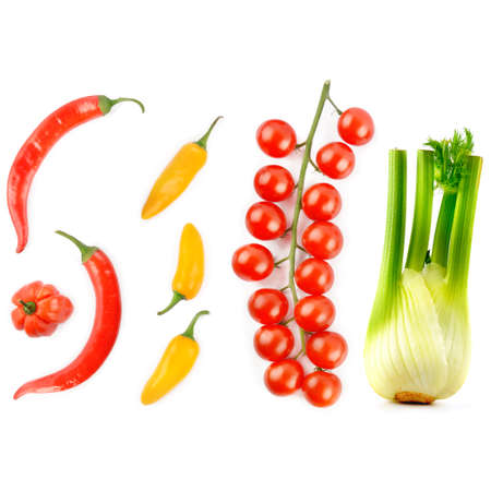 Cherry tomatoes, chili peppers and fennel bulb isolated on white background. 版權商用圖片
