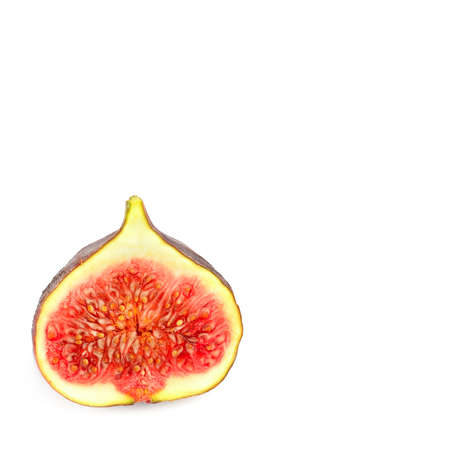 Fresh fig. Fruit isolated on white background. Free space for text. Banque d'images