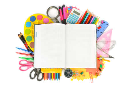 Collection of school supplies, isolated on pure white background. Back to school. Free space for text.
