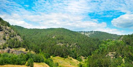 Picturesque mountain landscape. Andorra. Summer. Wide photo.