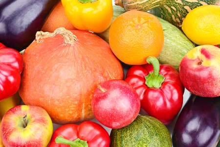 An assortment of vegetables and fruits. Bright background