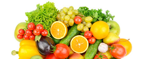 Set of vegetables and fruits isolated on a white background. Healthy food. Wide photo.