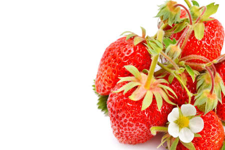 Fresh red strawberry stack isolated on a white background. Free space for text.