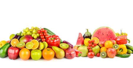 Collection fresh fruits and vegetables isolated on white background. Collage. Wide photo. Free space for text.