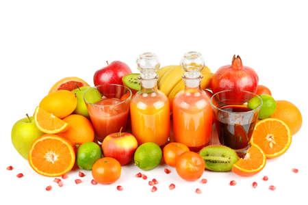 Citrus vitamin juice, healthy drink with fresh fruits, lime, grapefruit, orange, tangerine. Isolated on a white background. Refreshing homemade lemonade. Breakfast beverage Stock Photo