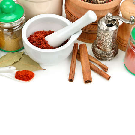 Set of aromatic spices and seasonings isolated on a white background. Free space for text. 版權商用圖片