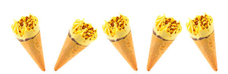 Creamy ice cream in waffle cones isolated on white background. Collage. Wide photo.
