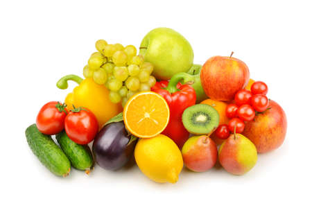 Assortment of fruits and vegetables isolated on white background. Stockfoto