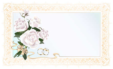 A bouquet of pink roses, a bow and hearts made of golden ribbons Illustration