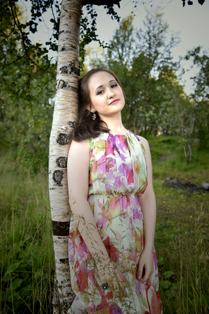 leant: Woman leant on birch