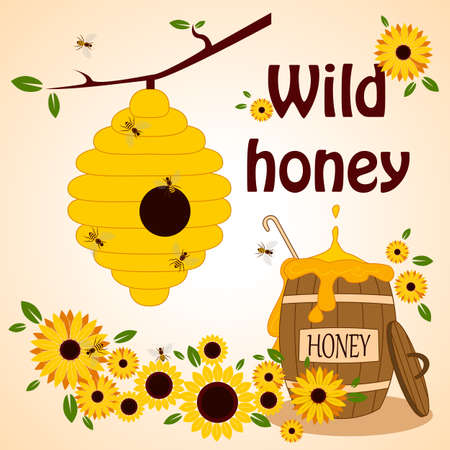 apiculture: Beekeeping set. Honey in the barrel with dipper. Bee on the flower. Wild honey.