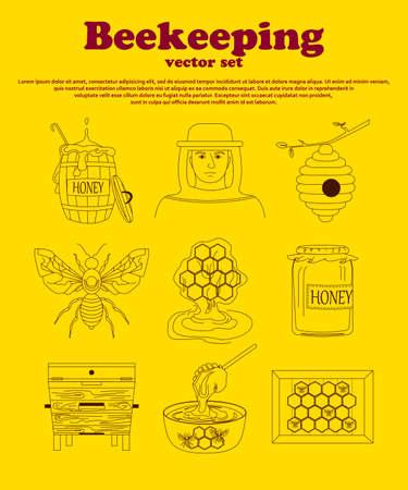 beekeeping: Beekeeping icon set. Beekeeping symbols. Outline style of beekeeping.