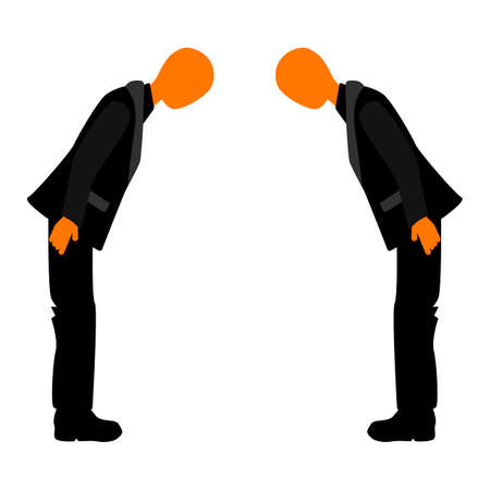 politeness: Welcome to the business meeting. Japanese bow at a business meeting. Business etiquette. National Business Etiquette.