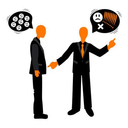 etiquette: Speech etiquette in business. The quarrel between the colleagues. Business etiquette. Illustration