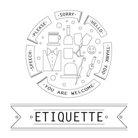 etiquette: The elements of speech etiquette. Phrases in etiquette in the circle.