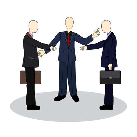 etiquette: Presentation of colleagues at the meeting. Business etiquette. Handshake between businessmen. Illustration