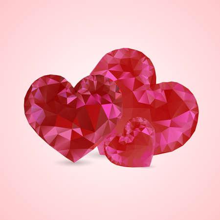 shiny hearts: Shiny red crystal heart. Diamond hearts. Precious Hearts on Valentines Day. Happy Valentines Day. Illustration