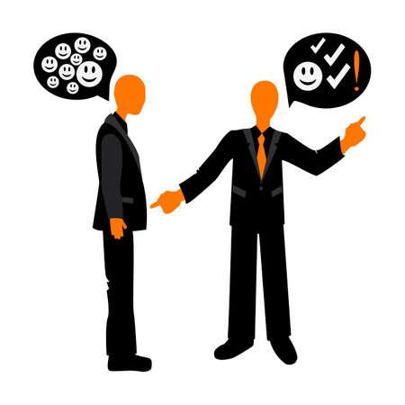 etiquette: Speech etiquette in business. Appreciation conversation between colleagues. Business etiquette. Illustration