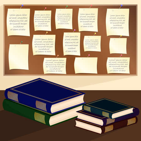 a bulletin board: Books and paper stickers on a bulletin board. Vector illustration. Illustration