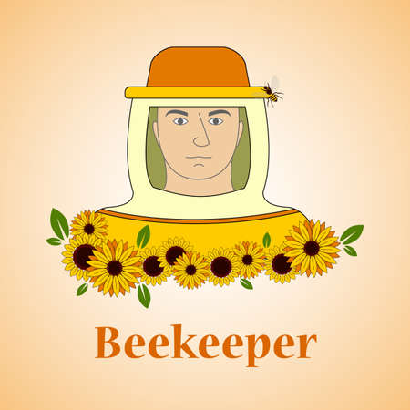 apiculture: Beekeeping vector set. Beekeeper with sunflowers. Vector illustration.