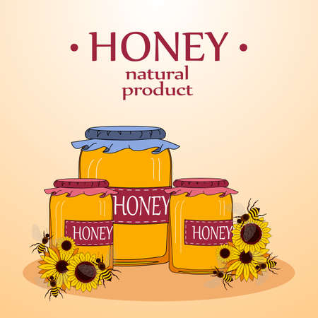 apiculture: Beekeeping vector set. Honey in the jar and barrel with dipper. Bee on the flower. Vector illustration. Illustration