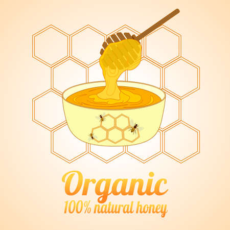 dipper: Beekeeping vector set. Honey in the jar and barrel with dipper. Bee on the flower. Vector illustration. Illustration