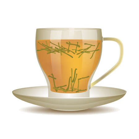 tea leaves: Yellow tea in cup of glass with tea leaves. Vector illustration.