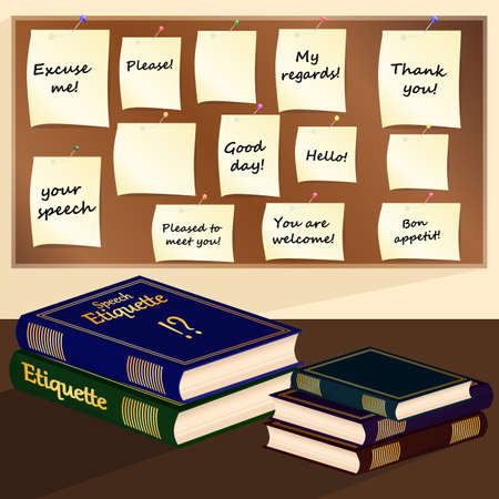 etiquette: Books and paper stickers of speech etiquette on a bulletin board. Vector illustration.