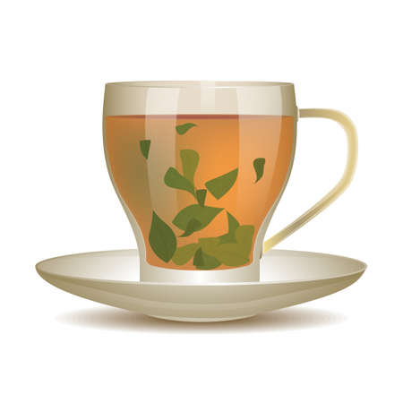 oolong: Oolong tea in cup of glass with tea leaves. Vector illustration.
