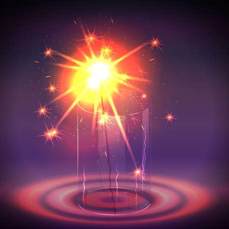 bengal light: Sparkler in the glass. Vector illustration. Illustration