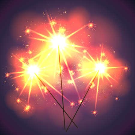 bengal light: Bright shiny sparklers on holiday. Vector illustration. Illustration