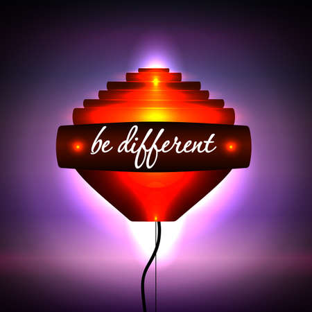be different: Creative light orange. Hi-tech. Motivational phrase Be different. Vector illustration. Illustration