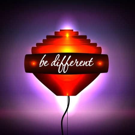 be different: Creative light orange. Hi-tech. Motivational phrase Be different. Vector illustration. Illustration
