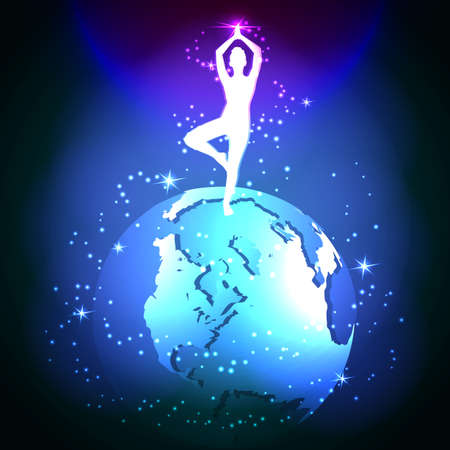 meditative: Yoga in space. The meditative state of mans soul. Vector glowing background.