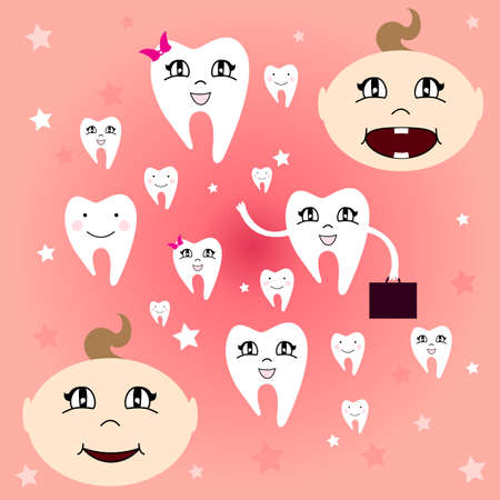 first teeth: Baby teeth. The first baby teeth. Happy child with healthy teeth. Vector illustration. Illustration