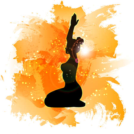 meditative: Yoga on watercolor background. The meditative state of mans soul. Vector glowing background. Illustration