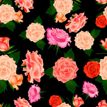 Seamless vintage cute rose vector pattern background. Vector illustration.