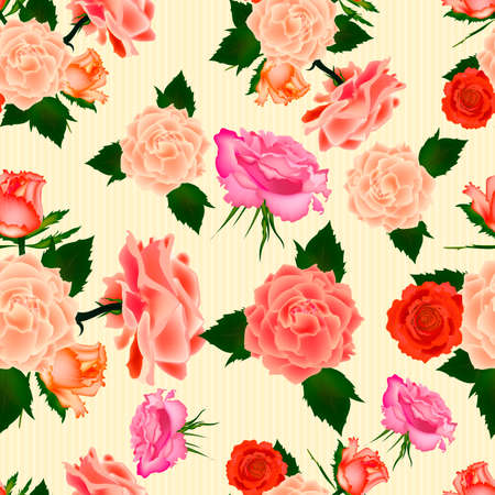 Seamless vintage cute rose vector pattern background. Vector illustration.