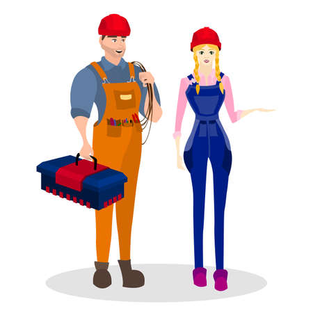 busyness: Occupation builder. Builders of a man and woman with construction tools, such as tool box and a rope, and others. Worker builder costume. Vector illustration. Illustration