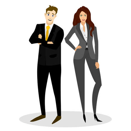 busyness: Businessman and businesswoman in a business suit. Vector illustration.