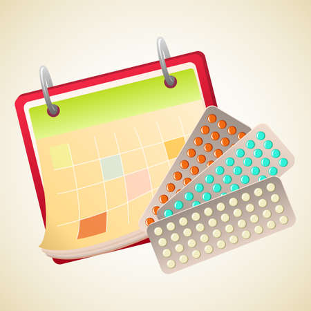obstetrician: Calendar and tablets plates. Pills to treat. Medicine and health care. Vector illustration.