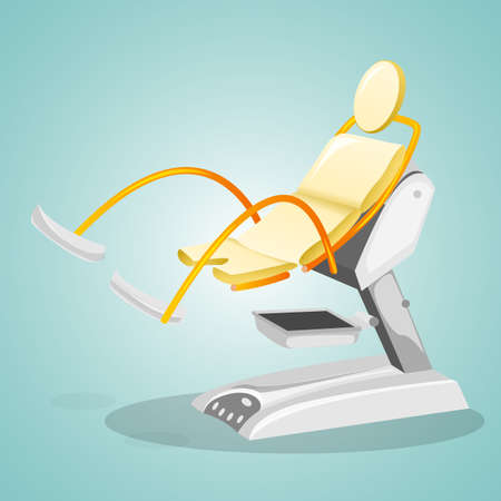 obstetrician: Gynecological chair for womens surveys. Gynecology and concern for womens health. Vector illustration. Illustration